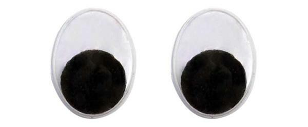 Yeux mobiles ovale - 50 pces, 12 x 15 mm