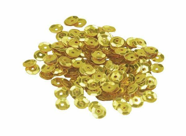 Sequins - 10 g, Ø 6 mm, jaune doré