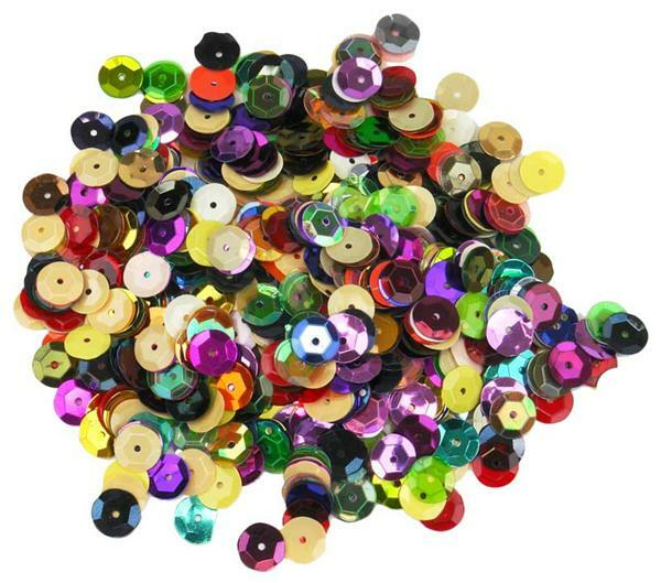 Sequins mélange -  30 g, Ø 10 mm, multicolore
