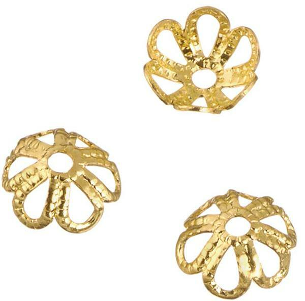 Perles calottes rosette - 6 mm, or