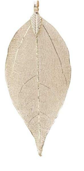 Pendentif feuille - fin, env. 60 x 30 mm, or rose