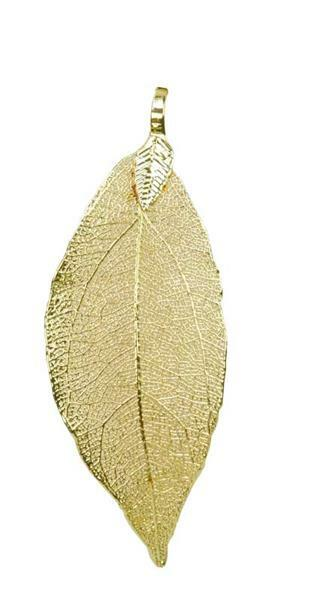 Pendentif feuille - fin, env. 60 x 30 mm, or