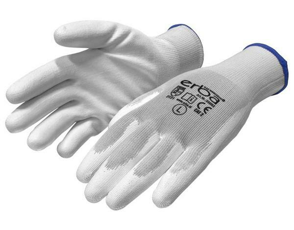 Gants polyester mailles fines - blanc, Taille M